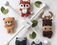 Bos dieren Baby Mobile bos kwekerij Decor van pinkTopic op Etsy