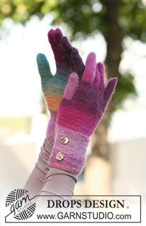 "Knitted DROPS gloves in ""Delight"". ~ DROPS Design"