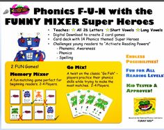 SUPERHEROES + PHONICS = SUPER READERS!!!  Based on The FUNNY MIX GAME!  Teaches:   All 26 Letters + Short Vowels + Long Vowels! Digital Download to create 2 card games! Card deck with 14 Phonics themed Super Heroes! Grades Pre-K, K, 1st, 2nd   #phonemicawareness  #Phonics #spelling   #preschool #kindergarten #2ndgrade  #1stgrade #homeschool #funny #funnygames #specialeducation #dyslexia Teaching Letters, Teaching Phonics, Reading Games, Reading Strategies, Deck Of Cards, Card Deck, Super Reader, Nonsense Words, Phonics Games