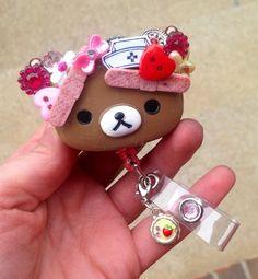 Rilakkuma Teddy Bear Nurse Id Badge Holder | evezbeadz - Accessories on ArtFire (SOLD, THANK YOU!)
