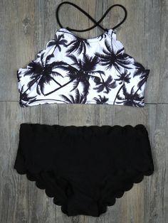 Halter High-waisted Tank Padding Bikini Sets - WealFeel
