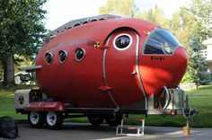 "Builder Bill Guernsey was sidelined by surgery and channeled his frustration into creating this steampunk-esque ""Rocket Camper"" which is almost entirely of wood."