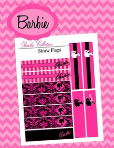 Barbie Theme Party  STRAW FLAGS or Toothpick by KROWNKREATIONS, $3.00