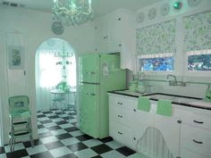 • fashion style vintage green 50s retro pin up rockabilly 1950 furniture kitchen 60s 1960 photoshop edit 50's 60's jackspinups •