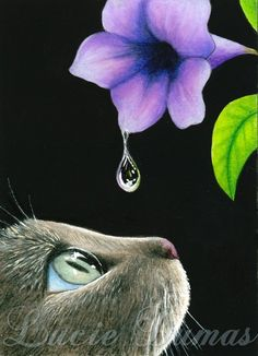 ACEO art print Cat 409 flower painting by Lucie by artbyLucie, $5.00