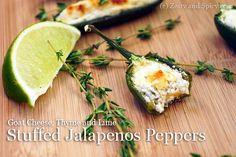Appetizer af Jalapeños og gedeost.   Mon mor og far har Jalapeños i år