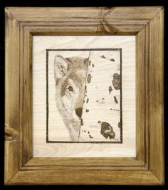 Owl Pyrography Pattern | Wolf on birch plywood in a home made recycled pine frame. Done from ...