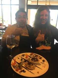 """Brittany is enjoying a delicious meal at Davino's Italian Restaurant while relaxing at Villa del Palmar Cancun Beach Resort & Spa! The food at Cancun gets a thumbs up as always 😃 👍 #BrittanysTravels Brittany is seen here with the head chef of Davino's and is enjoying a delicious """"Beer & Wine Pairing"""" 😋 #myuvci #vdp #cancun #foodie #yummy #vacationeats #indulge Resort Spa, Cancun, Brittany, Villa, Relax, Beer, Yummy Food, Restaurant, Wine"""