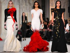 Stephane Rolland 2012 I love the incorporation of Red as a bright and shocking fluid accent to these structured black and white pieces.