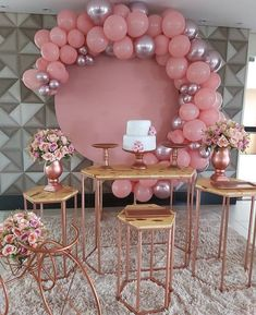 Rainbow Party Decorations, Birthday Balloon Decorations, Baby Shower Decorations, Gold Birthday Party, Birthday Parties, Rose Gold Theme, Gold Bridal Showers, Fiesta Party, Belle Photo