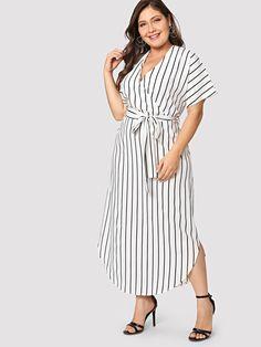 Shop Plus Roll Up Sleeve Pocket Front Striped Dress online. SHEIN offers Plus Roll Up Sleeve Pocket Front Striped Dress & more to fit your fashionable needs. Half Sleeve Dresses, Day Dresses, Blue Dresses, Dress Outfits, Casual Dresses, Dresses With Sleeves, Dress Clothes, Maxi Shirt Dress, Striped Shirt Dress