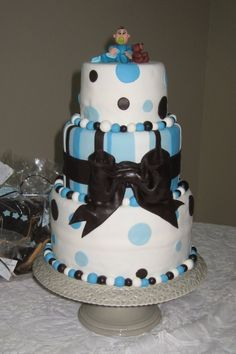 Brown and Blue stripes and dots Baby Shower Cake By Carlingas on CakeCentral.com