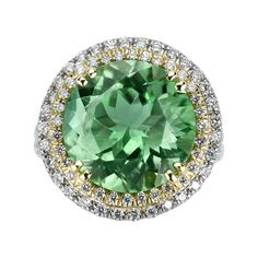 8.06 Carat Green Paraiba Tourmaline Diamond Gold Platinum Ring | From a unique collection of vintage cocktail rings at https://www.1stdibs.com/jewelry/rings/cocktail-rings/