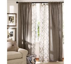 Emery Linen/Cotton Drape | Pottery Barn this is the layered look with patterned curtain on the inside