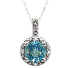 Round Cut Blue Topaz Birthstone Diamond White Gold Pendant by gemologica on Etsy