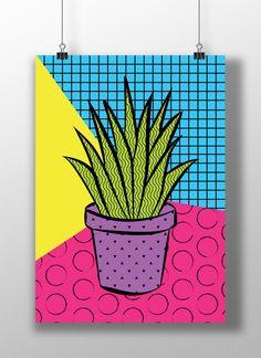 Printable Art, Plant pot,Flower pot, Pop Art, Colorful, Memphis, Download, Wall art, Home decor