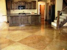Site has great ideas for stained and polished concrete! I love the stained concrete floors! Basement House, Basement Flooring, Kitchen Flooring, Flooring Ideas, Laminate Flooring, Basement Ideas, Acid Stained Concrete Floors, Hardwood Floors, Acid Concrete