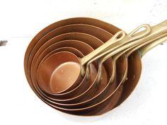 Set of 6 copper pans, French antique copper pans. Cottage chic, Rustic kitchen.