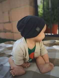 Infant 3-6 Months Charcol Hipster Beanie / Lightweight by NOXXaz