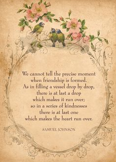 Beautiful vintage friendship poem framed with vines, birds and flowers