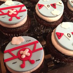 Aviation/airplane themed first birthday fondant cupcake toppers