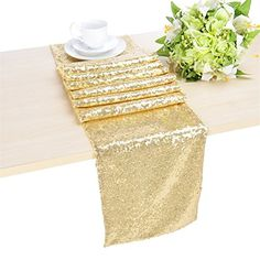 B-COOL 12 x 90 Inch Light Gold Sequin Table Runner B-COOL https://smile.amazon.com/dp/B018K9WEH4/ref=cm_sw_r_pi_dp_x_jIT6zbWFZD2PX