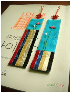 [zenana craft]: ohbangsaek containing bookmarks Decor Crafts, Diy And Crafts, Paper Crafts, Korean Accessories, Creative Textiles, Textile Fiber Art, Silk Art, Types Of Craft, Korean Art