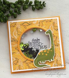 Hello and welcome I am Karen Farquhar from Australia and thank you for joining me today for Inspire. Boy Cards, Kids Cards, Dinosaur Cards, Stamping Up Cards, Rubber Stamping, Birthday Cards For Boys, Shaker Cards, Animal Cards, Scrapbook Cards