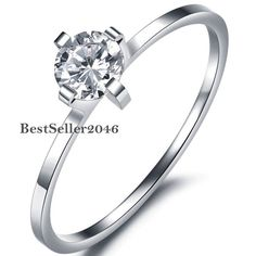 Stainless Steel 4-Prong Set Cubic Zirconia Solitaire Ring Womens Engagement #UnbrandedGeneric #Solitaire