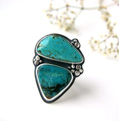 Seas of Dreams  Turquoise Sterling Silver Ring by MercuryOrchid, $227.00