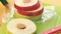 An delicious way to eat an apple a day—stuffed with peanut butter or cheese!