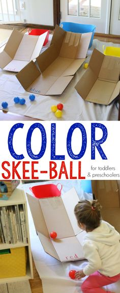 Color Skee Ball for Toddlers and Preschoolers: What a fun activity that combines gross motor development and color recognition!
