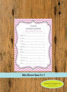 INSTANT UPLOAD  Baby Shower Game Chevron Gray & Pink  - Print Your Own