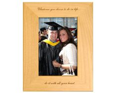 Looking for that perfect graduation gift for a loved one? This personalized graduation frame is the ideal way for your loved one to remember their accomplishment. This engraved Alderwood frame from Gift Works Plus is personalized an inspiring quote. Graduation Picture Frames, Graduation Pictures, College Graduation, Graduation Gifts, High School, Inspirational Quotes, Touch, Heart, Natural