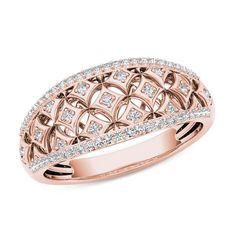 1/5 CT. T.W. Diamond Star Lattice Ring in 10K Rose Gold | View All Jewelry | Zales