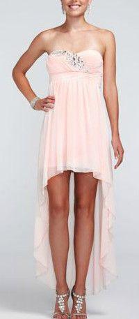 High Low Glitter Mesh Dress with Sequin Bust - David's Bridal - mobile High Low Chiffon Dress, Chiffon Skirt, Bridesmaid Dresses, Prom Dresses, Formal Dresses, Bridesmaids, Wedding Dresses, Bridal Closet, Davids Bridal