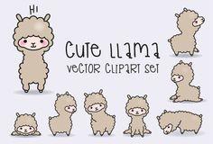 Premium Vector Clipart - Kawaii Llamas - Llama lindo Set de imágenes prediseñadas - vectores de alta calidad - descarga inmediata - imágenes prediseñadas Kawaii