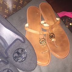 AUTHENTIC Michael Kors Sandals These are REAL Michael Kors sandals. Worn like a flip flop with no back. they are a size 11. Caramel with gold MK monogram. Michael Kors Shoes Sandals