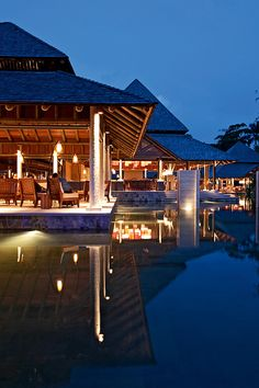 Restaurant at Constance Ephelia in Seychelles during night