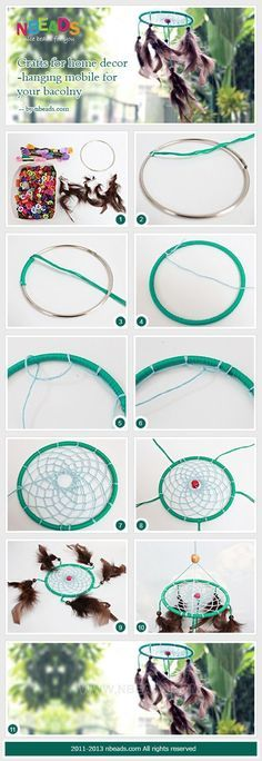 atrapasueños paso a paso - crafts for home decor-hanging mobile for your bacolny Crafts To Do, Decor Crafts, Arts And Crafts, Dream Catcher Mobile, Dream Catchers, Los Dreamcatchers, Dream Catcher Tutorial, Crochet Dreamcatcher, Hanging Mobile