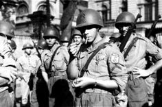 Brazilian soldiers of the Brazilian Expeditionary Force (BEF) are photographed at the Battle of Monte Cassino, Italy, May 1944.