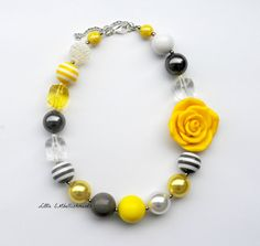Yellow and Gray Chunky Necklace by LittleEMbellishments, $19.99