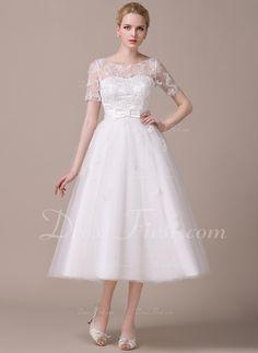 A-linjeformat Rund-urringning Tea-lång Tyll Bröllopsklänning med Applikationer Spetsar Rosett/-er (002059206)