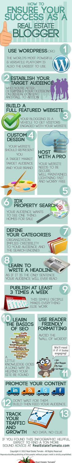 How To Ensure Your Success As A Real Estate Blogger – The Infographic