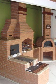 Outdoor Barbeque, Pizza Oven Outdoor, Outdoor Cooking, Outdoor Kitchen Design, Rustic Kitchen, Barbecue Four A Pizza, Parrilla Exterior, Brick Bbq, Backyard Renovations