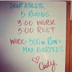 "129 gilla-markeringar, 6 kommentarer - CrossFit Rowing Erg (@crossfitrowing) på Instagram: ""Another #AnonymousWhiteboard this one from @cadyhart. If you love Rowing and burpees this is for…"""
