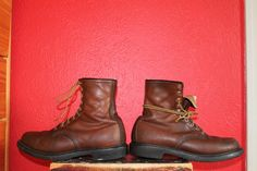 vtg mens 1970s leather red wing lacer work boot size 9 by Taite, $45.00