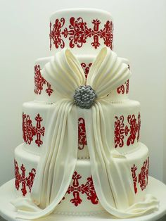 .Red and White Damask Cake