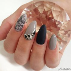Black and grey nails