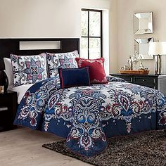 VCNY Istanbul King Comforter Set in Navy